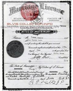 WM RARE FAMILY Vernon and Glayds marriage cert
