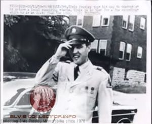 WM ARMY newspaper Elvis tipping his hat smiling