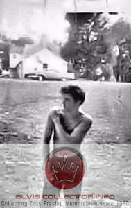 WM 1956 Elvis shirtless Graceland wiping off shoulder