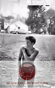 WM 1956 Elvis shirtless Graceland wiping off shoulder