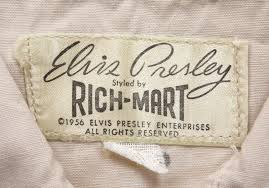 RARE Elvis Presley clothing 1956 tag styled by Rich Mart