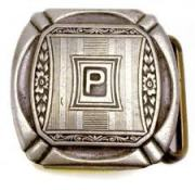 RARE belt buckle with P on ring