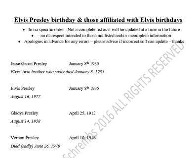 Elvis BIRTHDAYS page 1