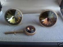 RARE cufflinks and tie pin onxy green brown