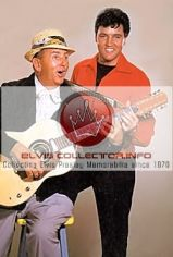 WM Elvis with Colonel Parker speedway area Parker hat and guitar funny
