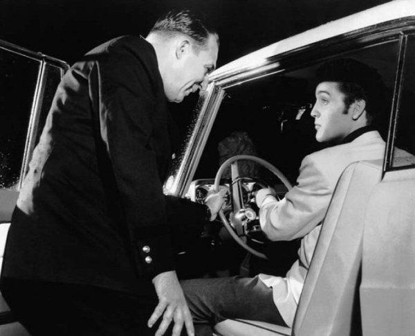 1956 Elvis in car Graceland front side shot rare