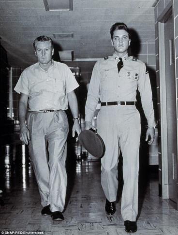 1956 August Elvis walking with Vernon in hospital Gladys was at sadly she died shortly after photo taken