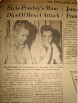 RARE NEWSPAPER Gladys died pic Elvis and Vernon