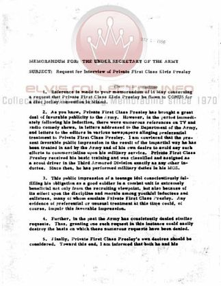 WM ARMY document denying special treatment
