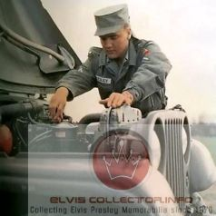 WM ARMY Elvis working on Jeep with hood up RARE colorized photo 282848438