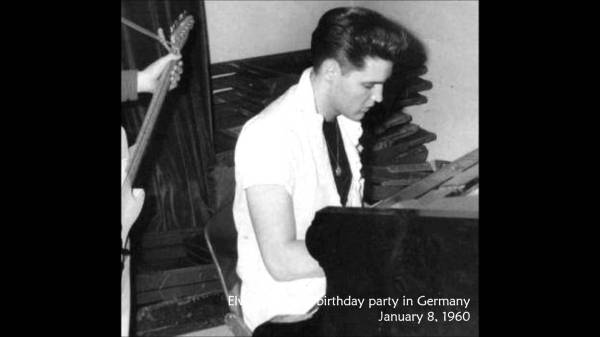1960 January 8 Elvis birthday in Germany in US Army rareraw at piano