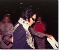 1970s Elvis in purple umpr Terre Haute Indiana show but in carpark PRE SHOW