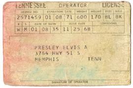 RARE Elvis 1971 driverslicense