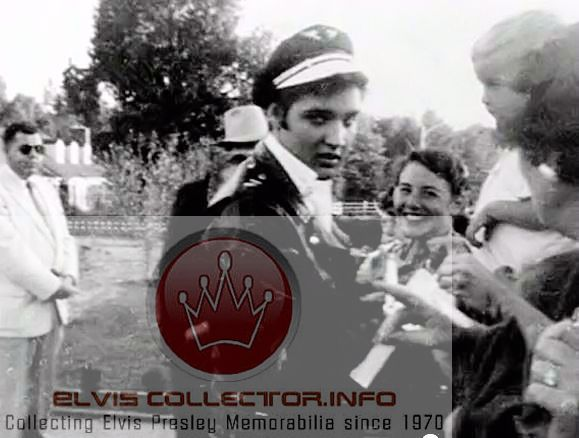 WM 1956 RARE candid Elvis wearing Brando hat quite the look